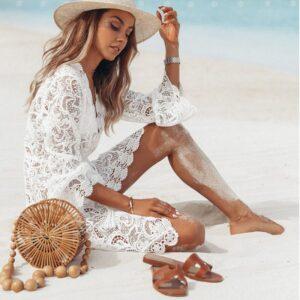 Summer Women Bikini Cover Up Floral Lace Hollow Crochet Swimsuit Cover-Ups Bathing Suit Beachwear Tunic Beach Dress Hot