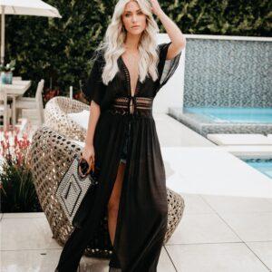 Women Beach Maxi Dress Bikini Cover-ups Summer Short Sleeve Lace Hollow Out Swimwear Cover Up Bohemian Dress Beachwear