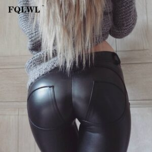 Plus Sizes Leather Pants Women Elastic Waist Hip Push Up Black Sexy Female Leggings Jegging Casual Skinny Pencil Pants
