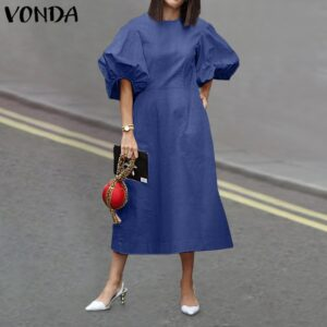 S-5XL Women O Neck Dress Casual Puff Sleeve Loose Solid Dress Denim Party Dresses Casual Bohemian