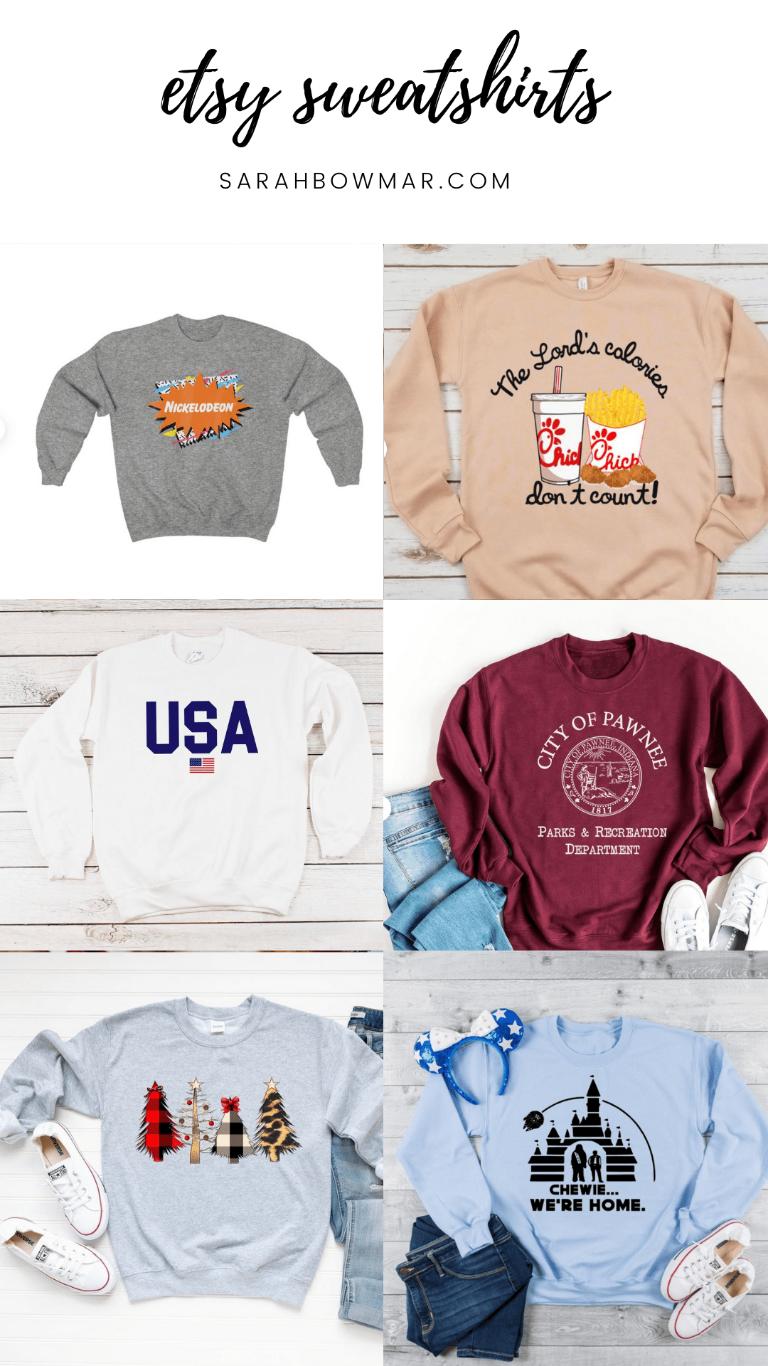 Sarah Bowmar Etsy Sweatshirt Favorites List