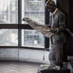 statue, public art, newspaper