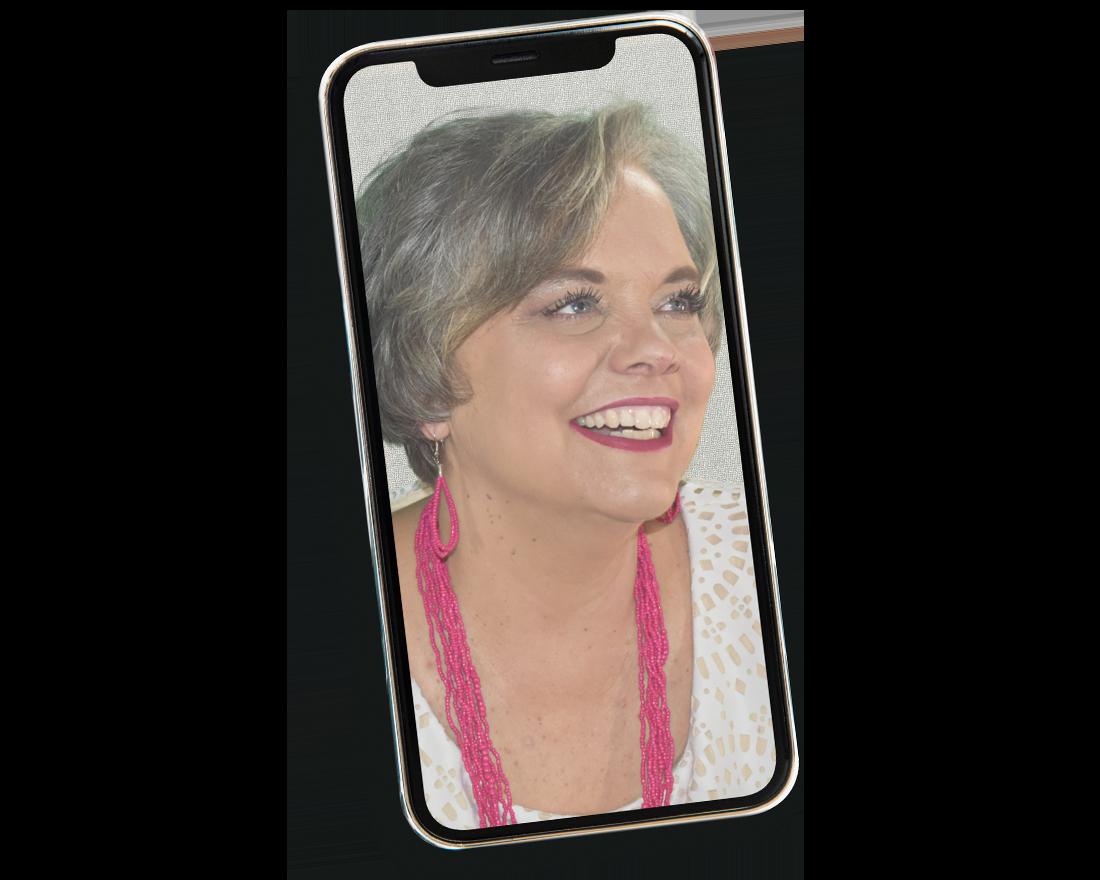 Sherri Leopold on Cell Phone Screen