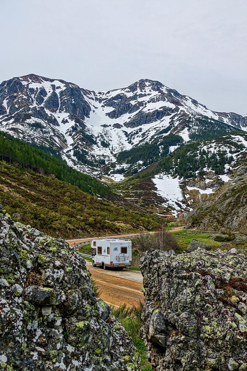 camper, mountains, van