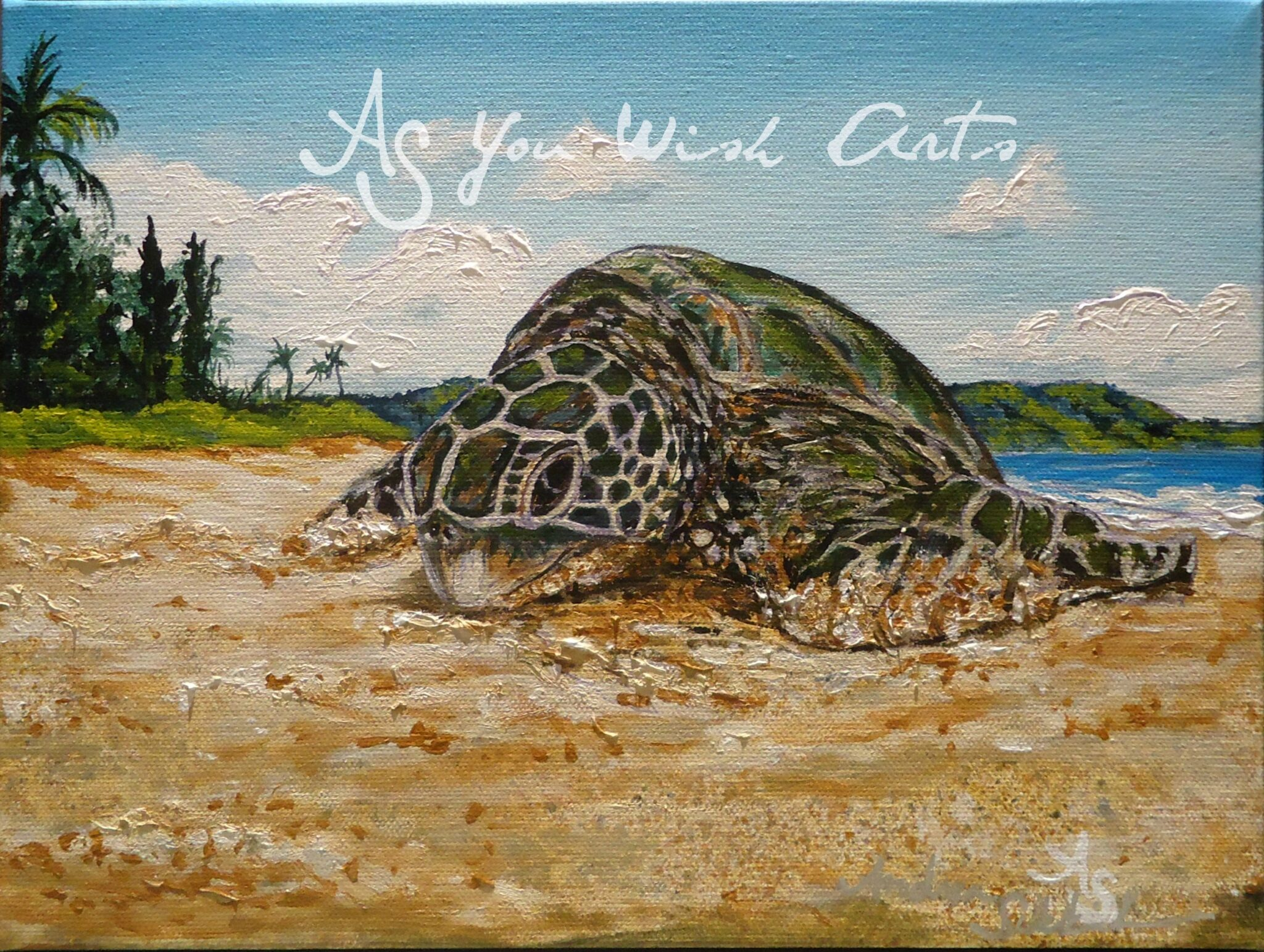 Honu winking with As you wish arts watermark