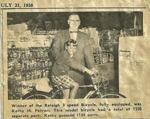 Winning the Bike in July 1958