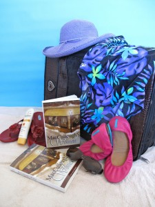 Suitcase and books for trip