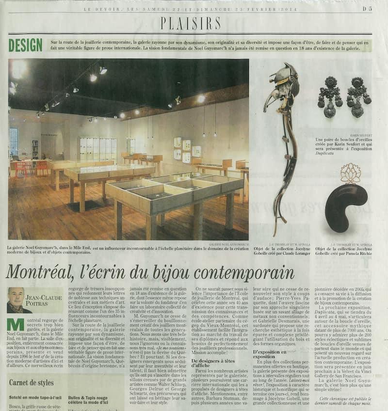 Bijoux contemporains Jean-Claude Poitras Montreal