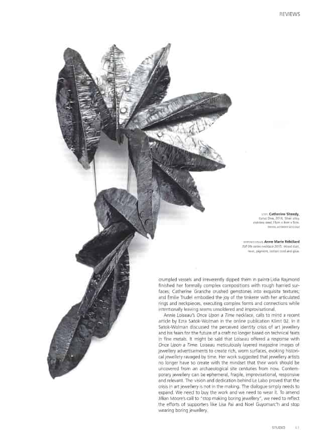 Contemporary Jewelry Studio Magazine Bijoux contemporains Montreal