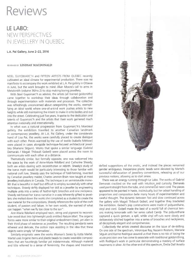Contemporary Jewelry Le Labo Bijoux contemporains montreal