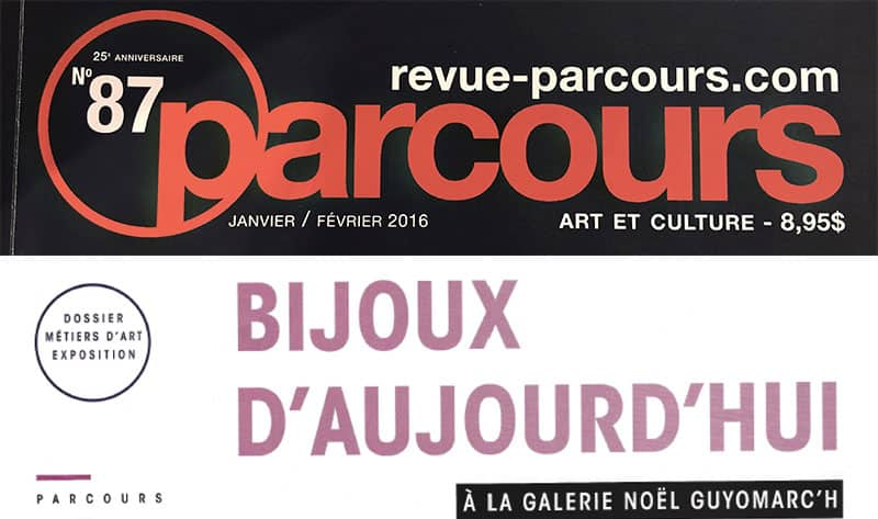 contemporary jewelry Parcours Montreal bijoux cotemporains Montreal