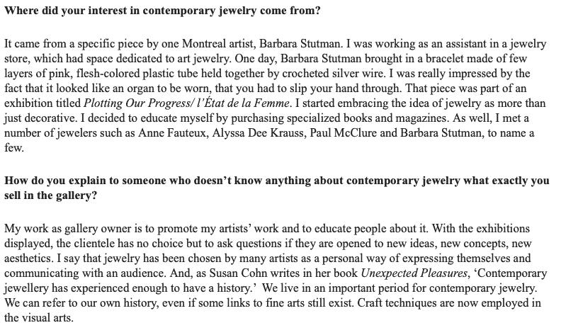 Contemporary Jewelry Art Jewelry Forum Montreal