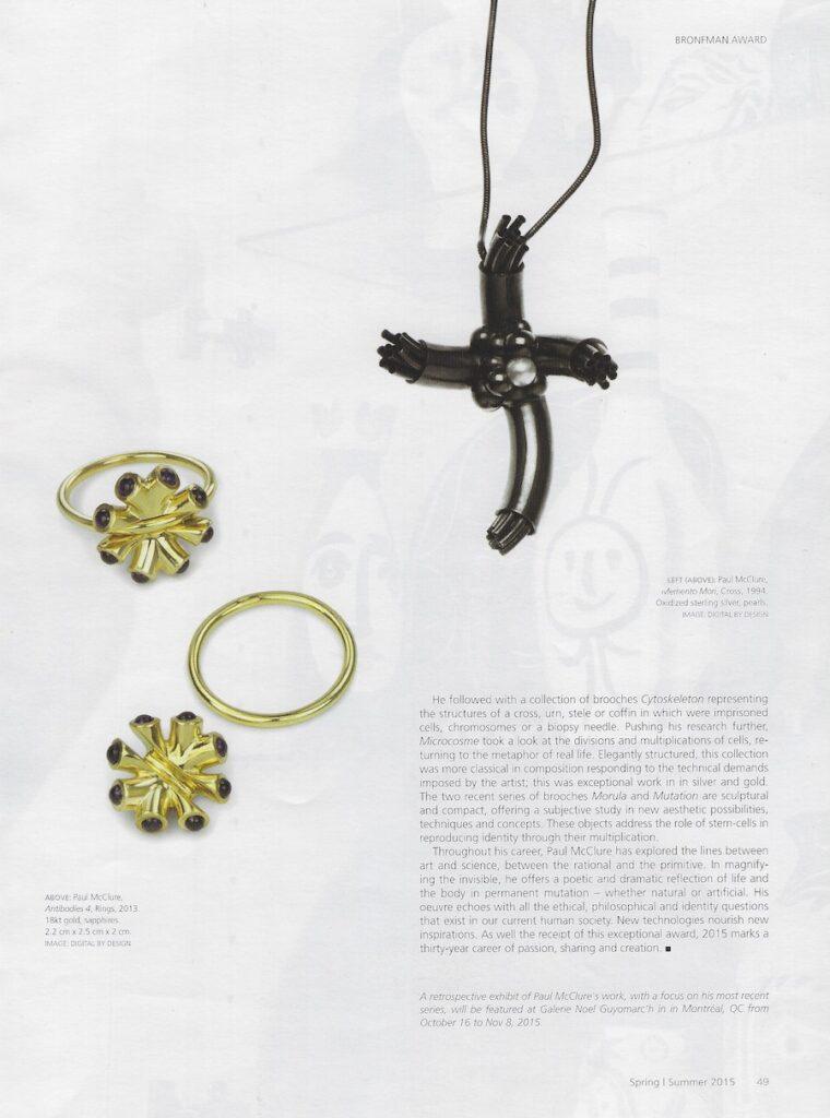 contemporary jewelry Paul McClure Bijoux contemporains Montreal