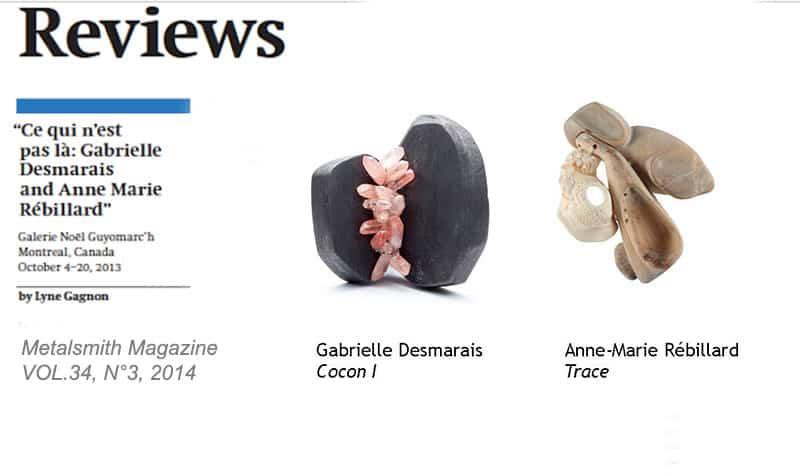 Bijoux contemporains Gabrielle Desmarais Anne-Marie Rébillard Metalsmith Magazine