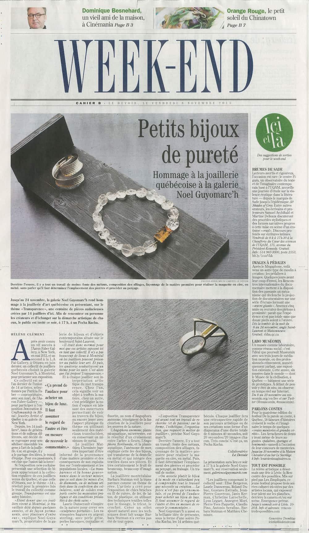 bijoux contemporains Le Devoir Montreal