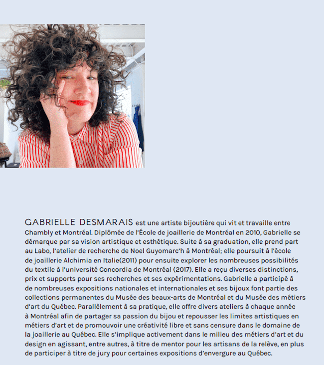 Gabrielle Desmarais bijoux
