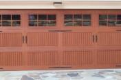wood garage door with windows