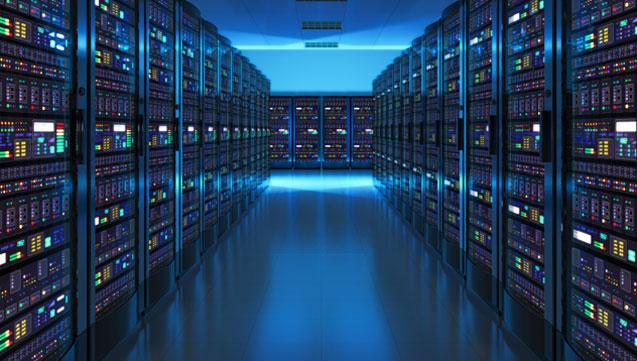 Server Room Illuminated with Blue Light