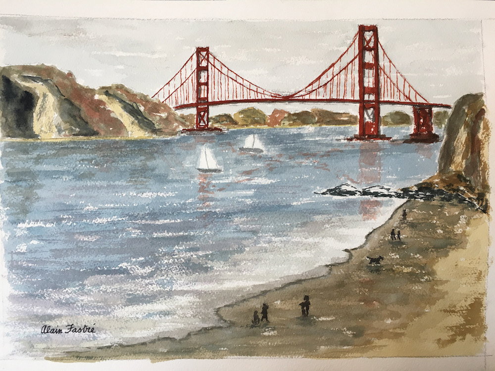 Golden Gate Bridge watercolor