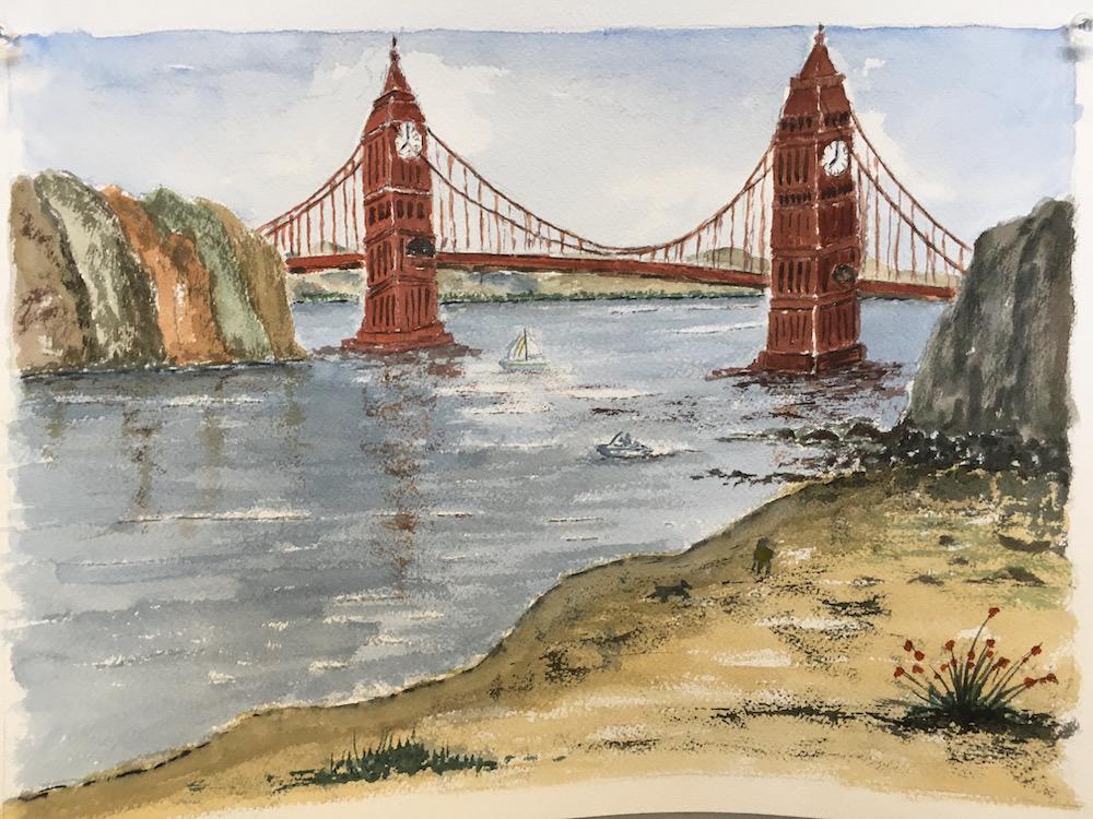 Golden Gate bridge Big Ben London