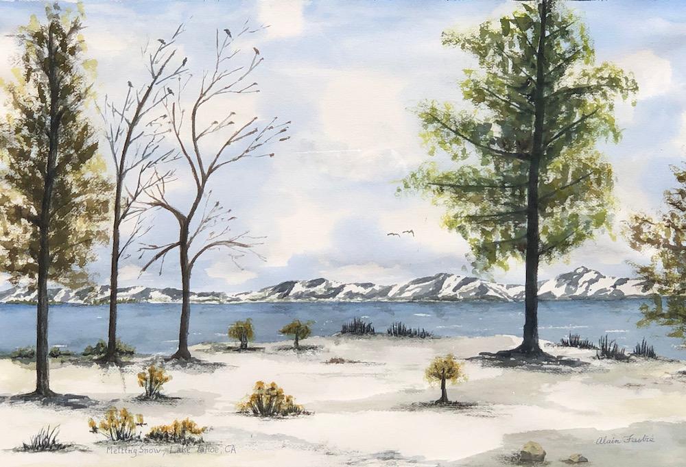 Melting snow in Lake Tahoe