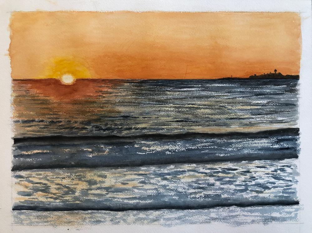 Orange sunset in Half Moon Bay