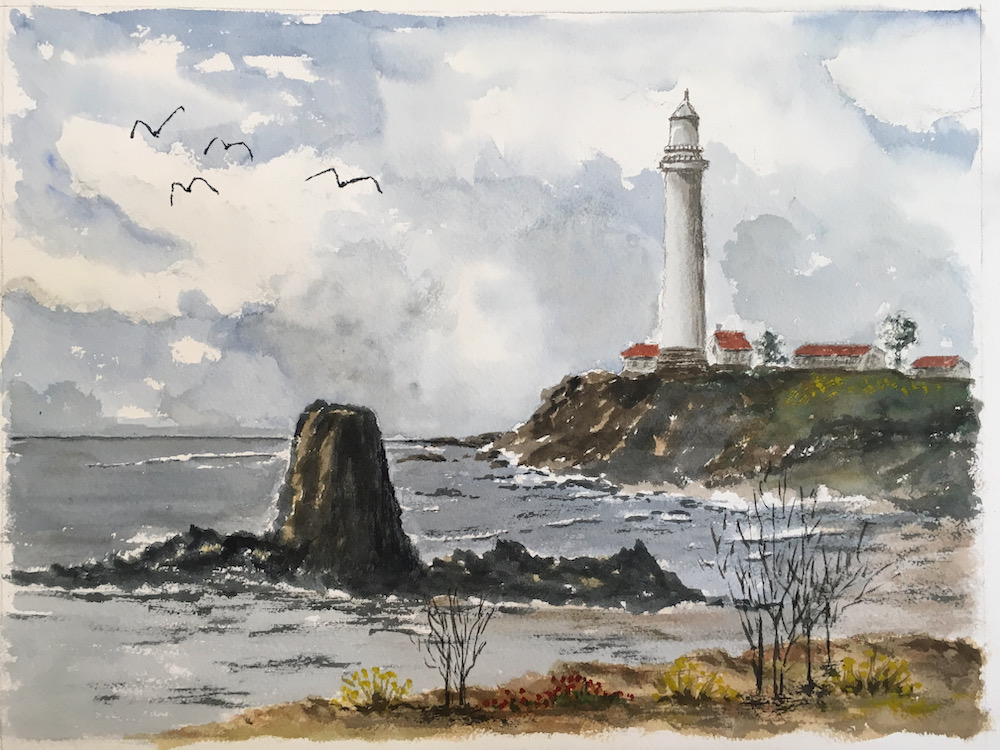 Pigeon Point Lighthouse 4 birds small