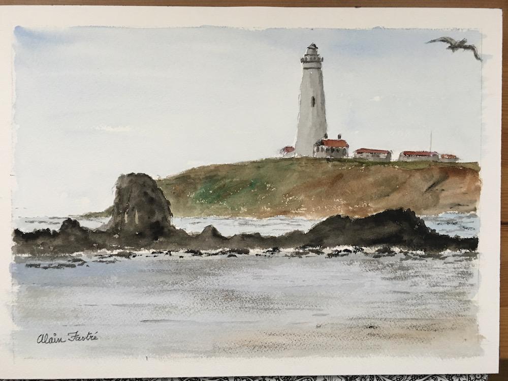 Pigeon Point Lighthouse small 1 bird right corner