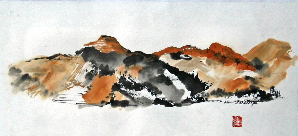 Arizona Mountains, sumi watercolor