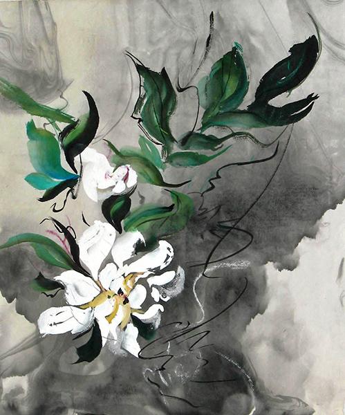 Blossom in the Rain, sumi watercolor