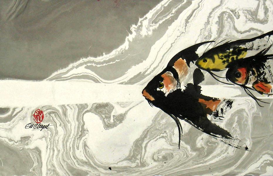 Fish I, sumi watercolor