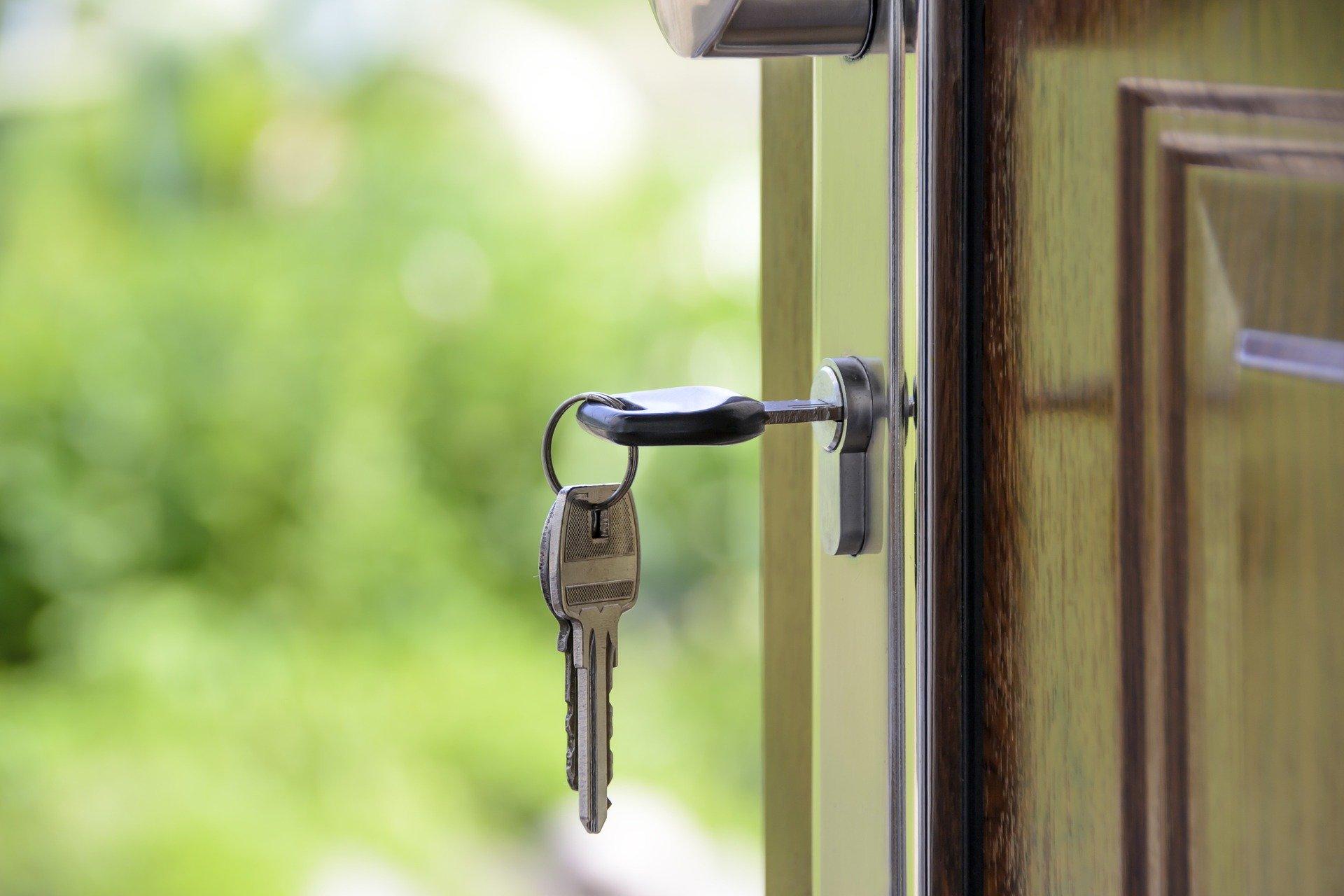 A key in an open door