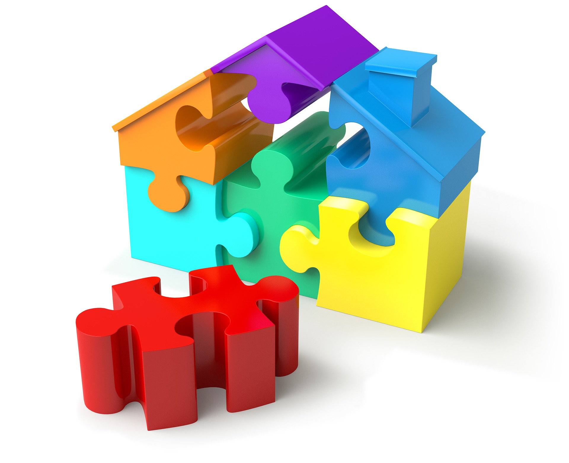 Puzzle pieces that look like a house