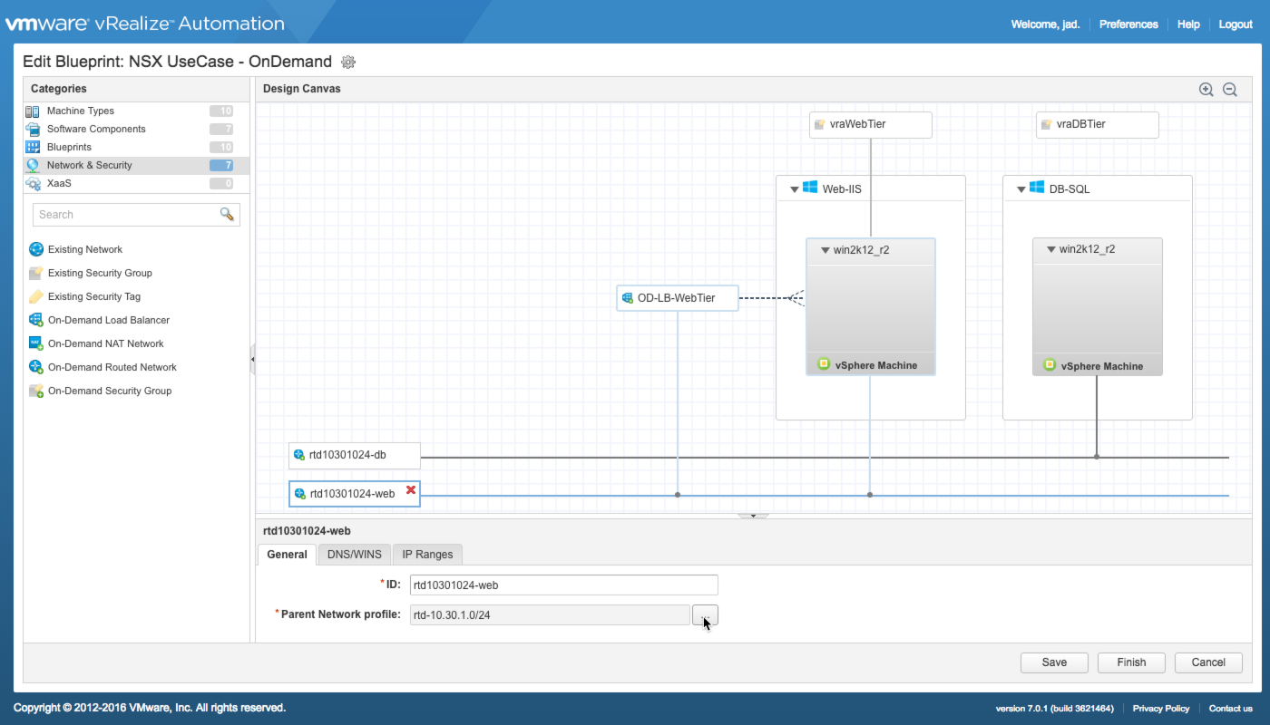 vRealize Automation Converged Blueprint with NSX Components