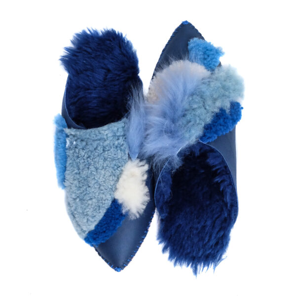 an image of blue shearling slippers