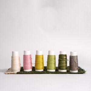an image of six spools of thread in various colors