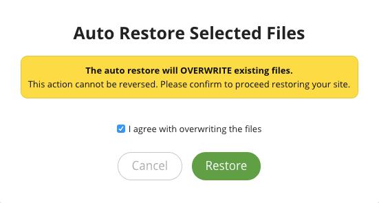 Screenshot auto restore files