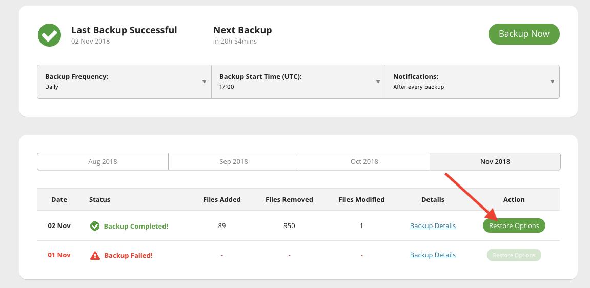 Screenshot restire options