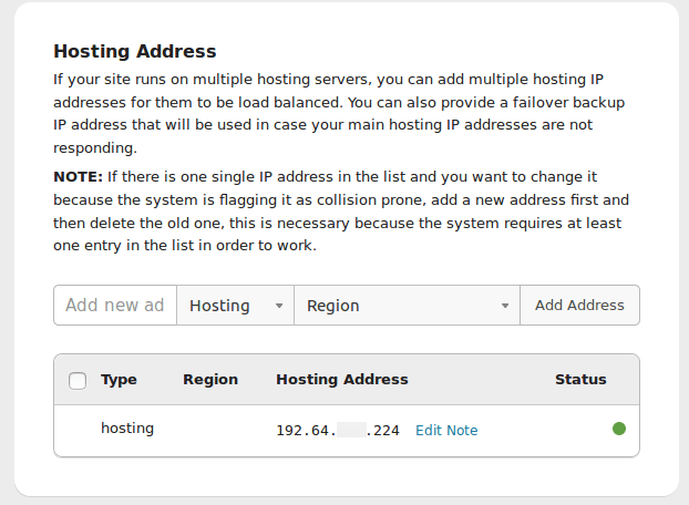 Change Hosting IP