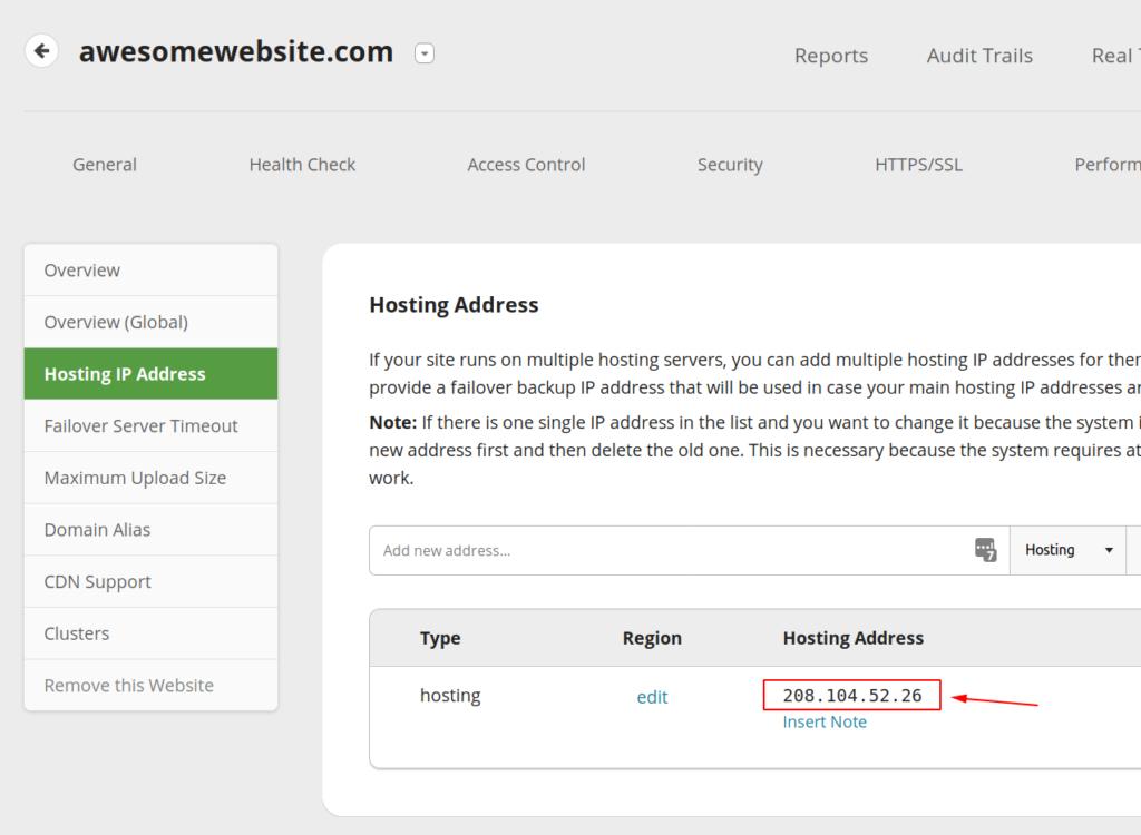 WAF Hosting IP Section
