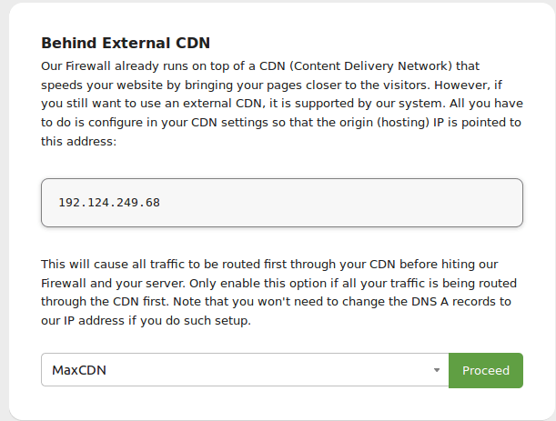 Sucuri Firewall CDN Settings