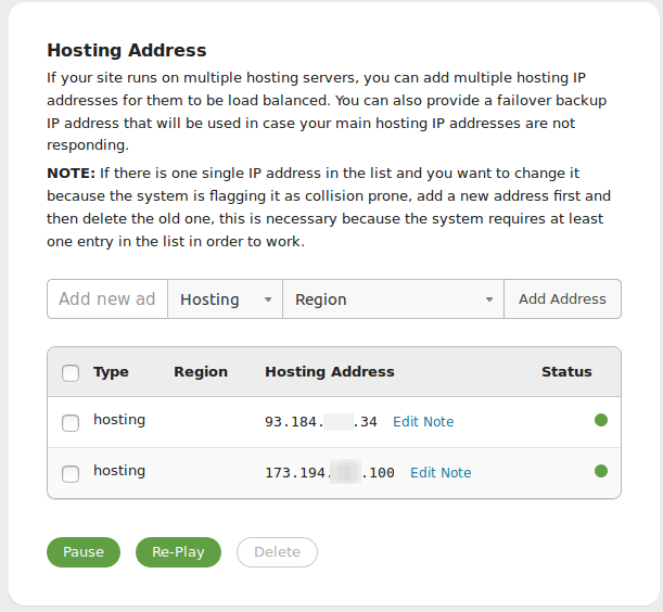 Multiple Hosting IPs