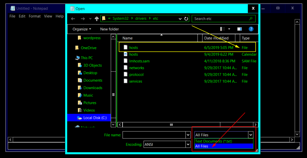See hosts file with Notepad