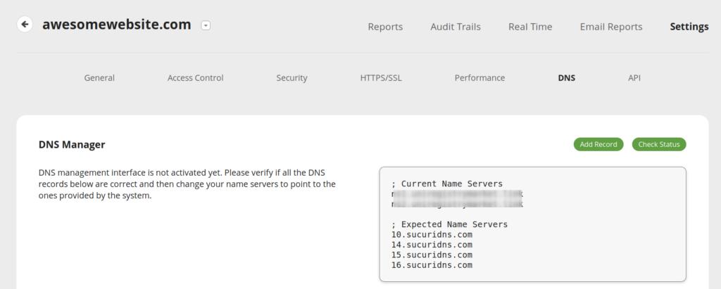 Sucuri DNS Manager