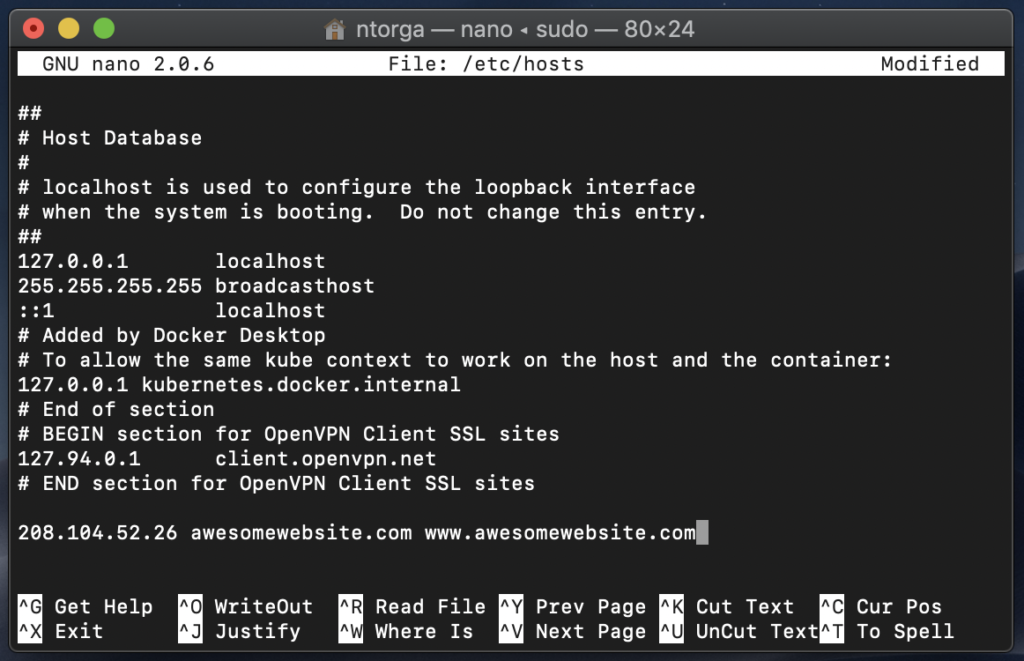 Add hostname to hosts file with Nano
