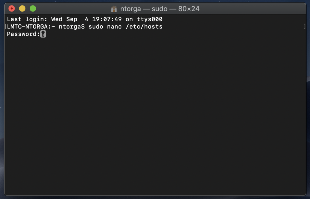 Open 'hosts' file with Nano