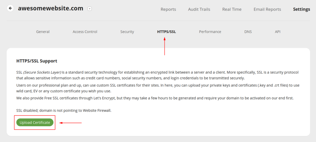 Upload a SSL certificate to the WAF