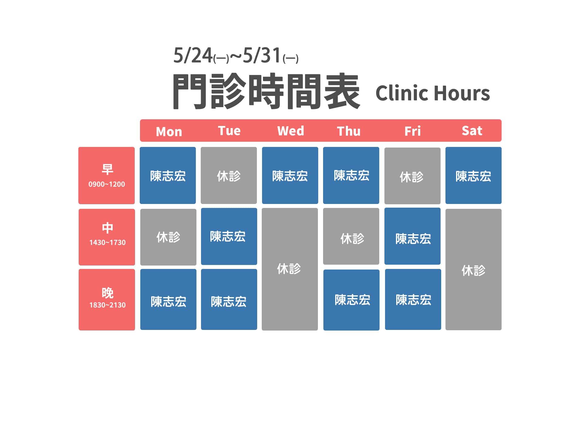 5/24~5/31門診異動表