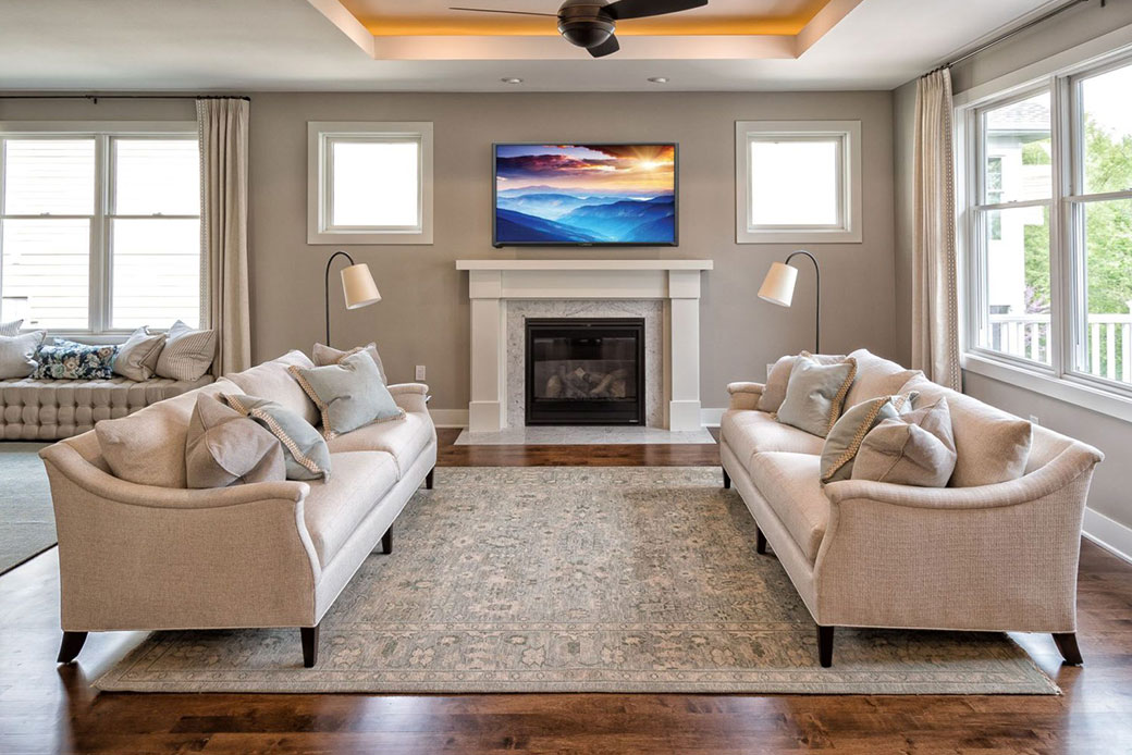 Emily Hughes Portfolio: Neutral Transitional Townhome Great Room