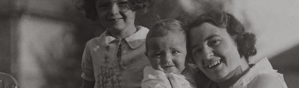 Vintage photograph of mother and two children